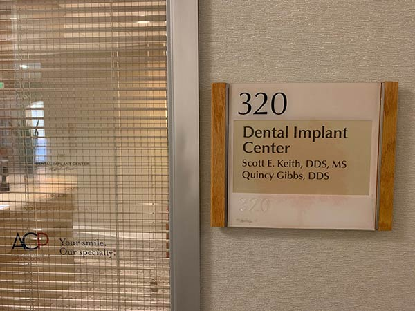 Nameplate for the Dental Implant Center at Walnut Creek
